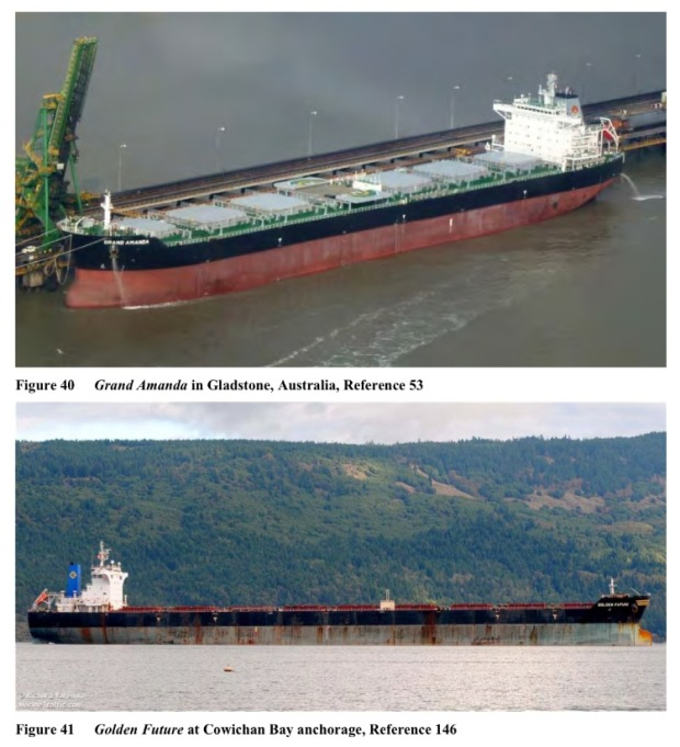 Typical GPT-calling bulkers (Panamax and Capesize). Photo is from the Vessel Traffic and Risk Assessment Study