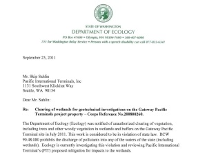Excerpt from September 23, 2011 letter from the DOE regarding unauthorized clearing of wetlands by SSA Marine/PIT