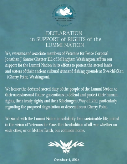 VFP Declaratio in Support of Rights of the Lummi Nation   with date
