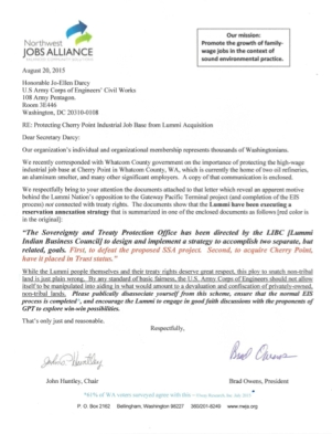 nwja letter to army corps