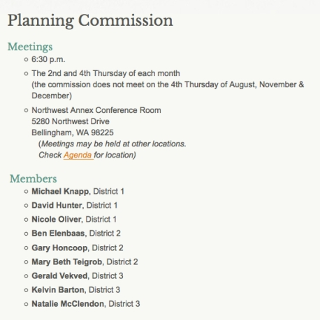 Whatcom Co planning commission mtgs