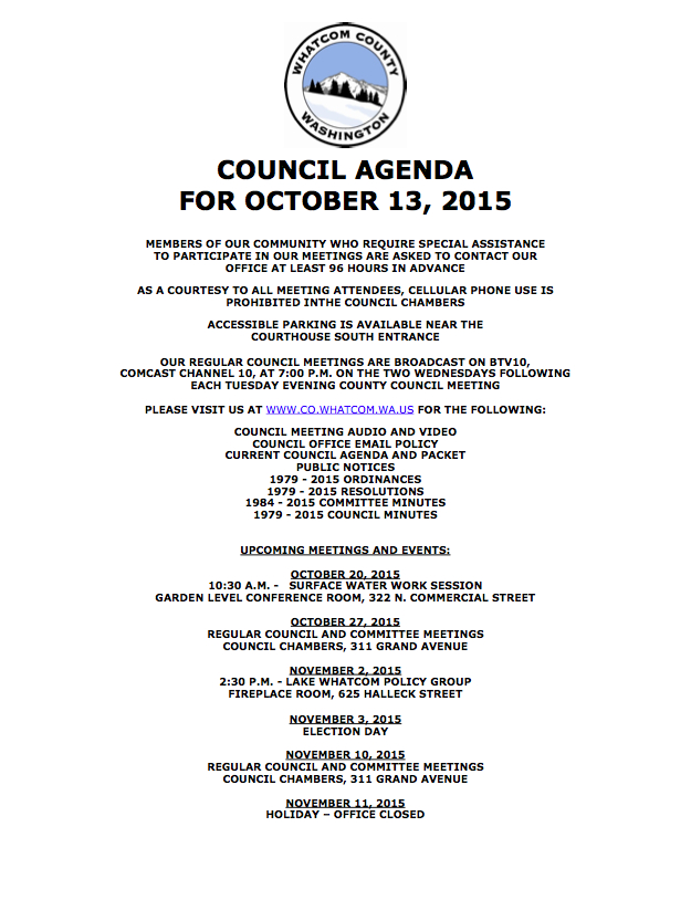 Whatcom County Coucil Meeting, Tuesday, October 13