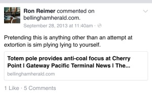 Ron Reimers comment on a September 28 2013 Bellingham Herald