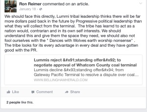 Ron Reimers January 18 2015 comment on January