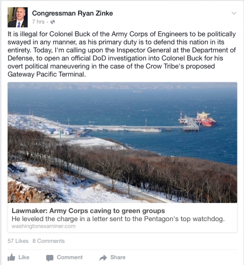 zinke facebook post dod